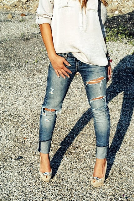 Heels, jeans, and baggy shirt