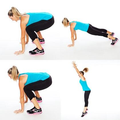 Burpees. Swiftly moving from standing to squatting to push-up position challenges all your muscles.
