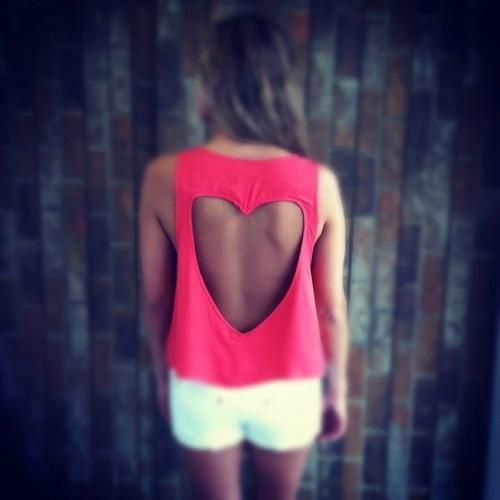 Heart open back shirt