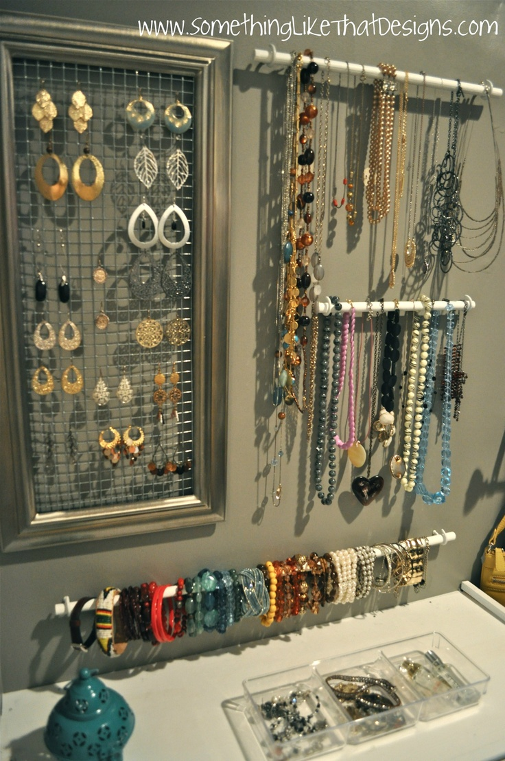 "ideas for a ""jewelry wall"""