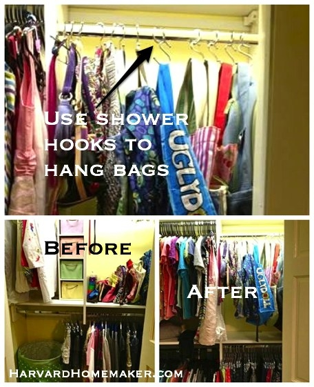 organize bags with shower hook sharvardhomemaker_800_l