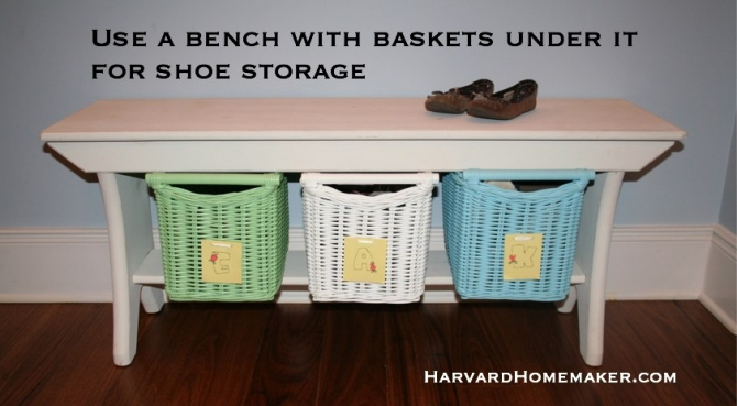 organize with bench and baskets for shoes