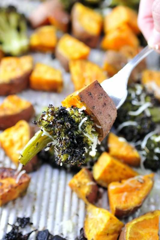 Roasted Herbed Sweet Potatoes and Broccoli
