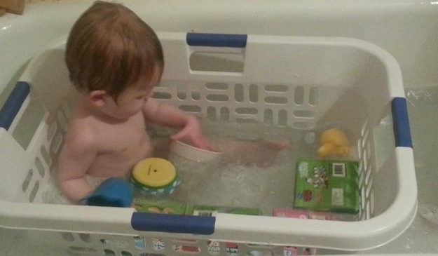 Bathe your child in a laundry basket so that their toys don't float away.