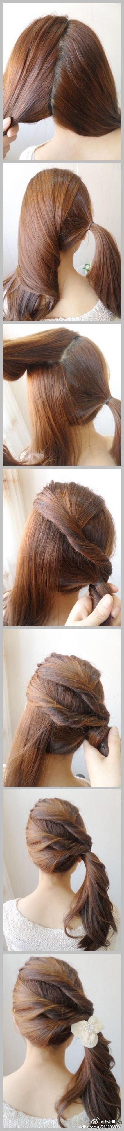 Three twists to side ponytail