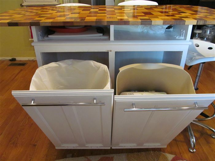 Install a recycling bin in your kitchen island