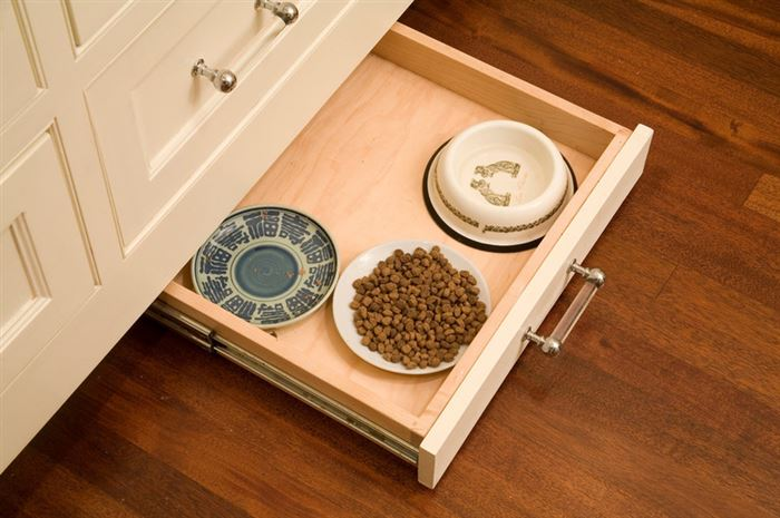 Stow away your pet's food dish in a drawer