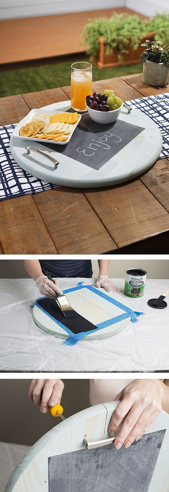fun chalkboard paint project. With this chalkboard party tray you can write a party greeting or draw a party-related doodle on it.